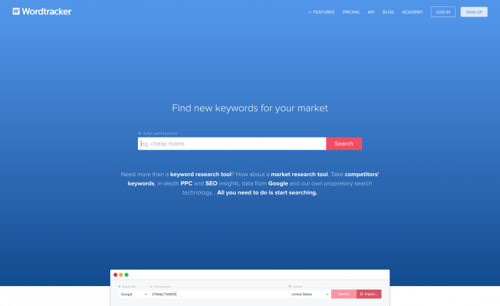 Free Keyword Research Tool from Wordtracker