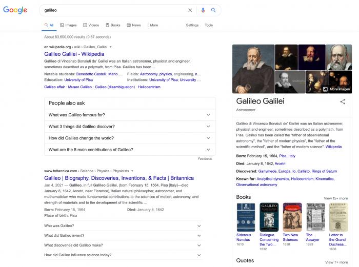 galileo Google Search