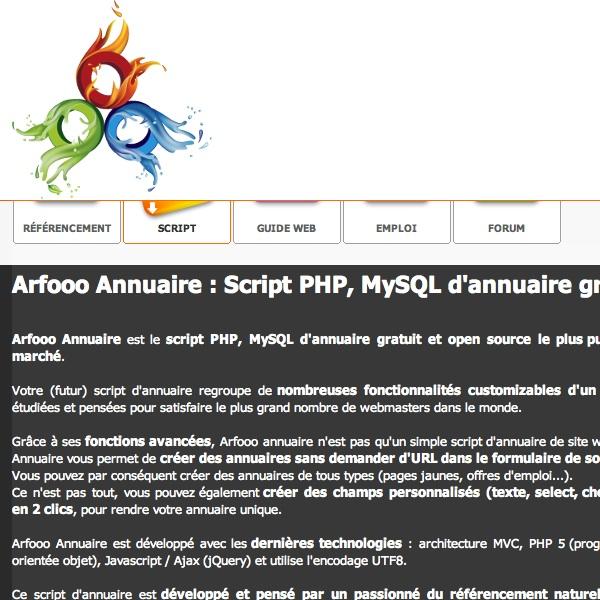 Créer un annuaire en PHP et MySQL avec Arfooo Annuaire Script annuaire gratuit