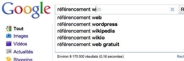 Suggestion de mots clés par Google