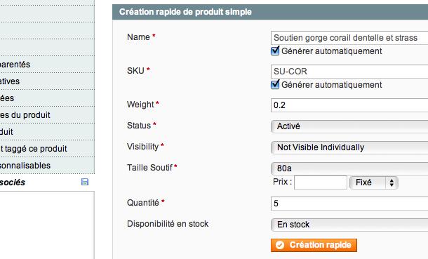 Création rapide de produit simple