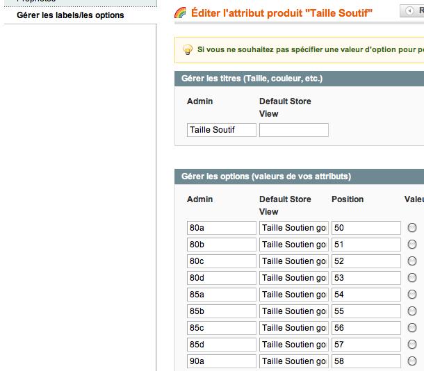 Gérer les labels - les options des produits Magento