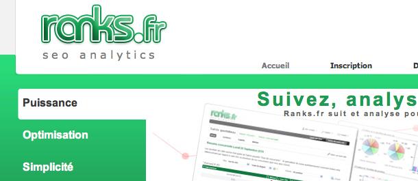 Logiciel référencement Google : suivi positions & analyses - Ranks.fr