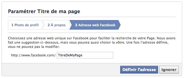 Adresse web Facebook