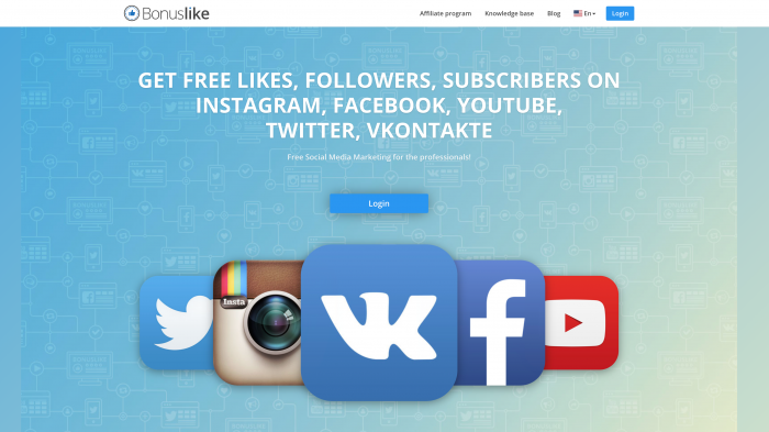 Get free likes followers subscribers on Instagram Facebook Youtube Twitter Vkontakte