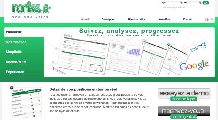 Logiciel référencement Google suivi positions analyses Ranks fr